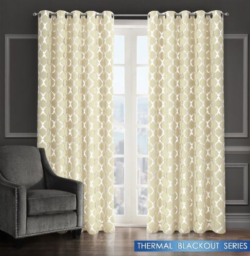 GEOMETRIC LATTICE METALLIC LIVINGROOM BEDROOM THERMAL BLACKOUT RING TOP CURTAINS CREAM